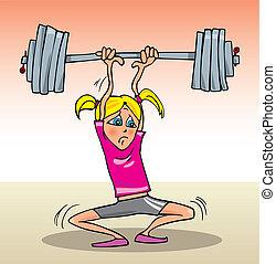 Girl lifting heavy weight - Cartoon illustration of teen...