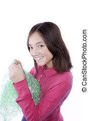 Girl likes to pop bubble wrap. - A girl can't resist the...