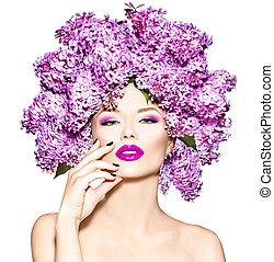 girl, lilas, fleurs, coiffure, modèle, mode, beauté