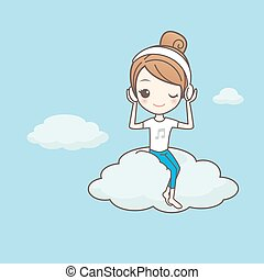 girl listen musice on cloud - cartoon girl listen musice on...