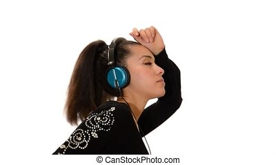 Girl listen to music and dance