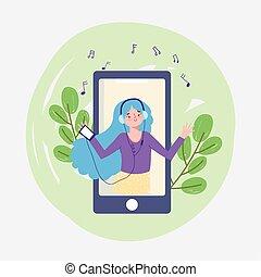 girl listening audio playlist with smartphone