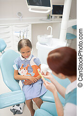 Girl listening to child dentist showing how to brush teeth