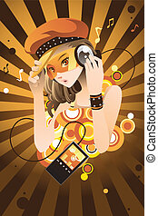 Girl listening to music - A vector illustration of a...