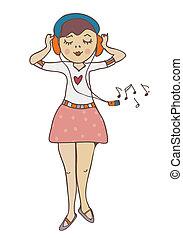 Girl listening to music funny cartoon illustration