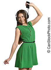 Girl listening to music on mobile