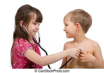 Girl Listens with a Stethoscope