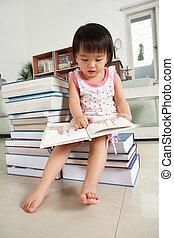 girl, litlle, livres, lecture, lot