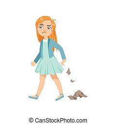 Girl Littering Teenage Bully Demonstrating Mischievous Uncontrollable Delinquent Behavior Cartoon Illustration