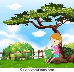 girl, livre, arbre, lecture, sous