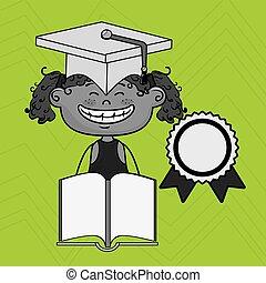 girl, livre, casquette, étudiant