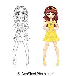girl, livre coloration, jaune