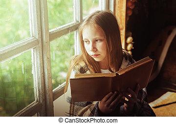 girl, livre, fenêtre., village
