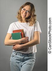 girl, livre, glasses.