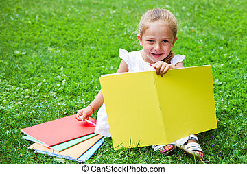 girl, livre, herbe, dessin