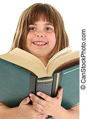 girl, livre, heureux, grand