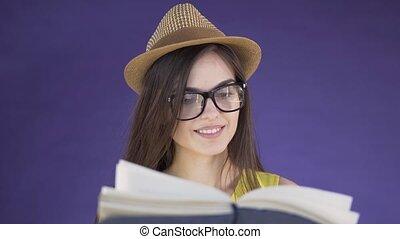 girl, livre, intelligent, lit