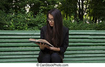 girl, livre, jeune