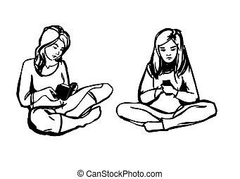 girl, livre, jeune, téléphone
