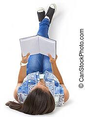 girl, livre, lecture, adolescent