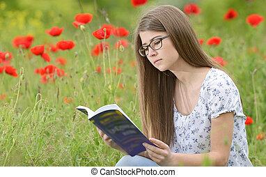 girl, livre, lecture, jeune