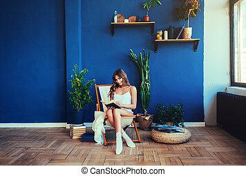 girl, livre, lecture, séance