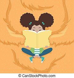 girl, livre, monstre, illustration, gosse