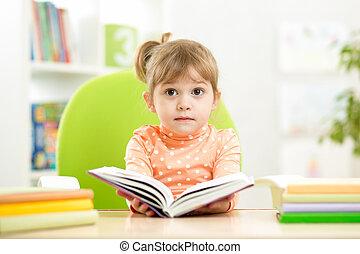 girl, livre, ouvert, gosse