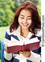 girl, livre, parc, lecture