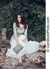 girl, livre, vieux