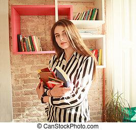 girl, livres, étudiant, bibliothèque