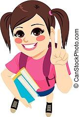 girl, livres, étudiant, tenue