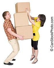 Girl loads the man with cardboard boxes