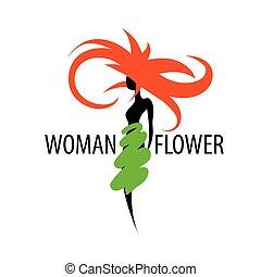 Girl logo in the shape of a flower. Vector illustration
