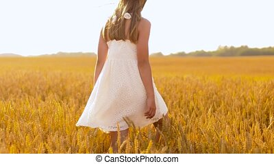 girl, long, heureux, chapeau, champ, paille, marche, céréale