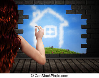 Girl looking at house of clouds in hole in brick wall