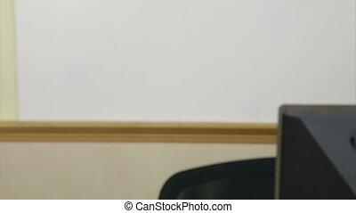 Girl looking at PC screen