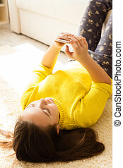 Girl looking at smartphone