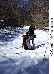 girl looking at snowway