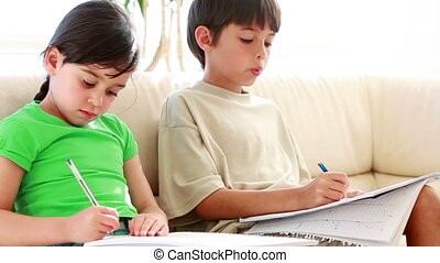Girl looking at the exercises of her brother