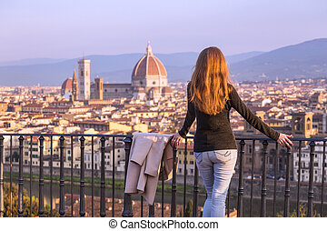 girl looking at the Florence