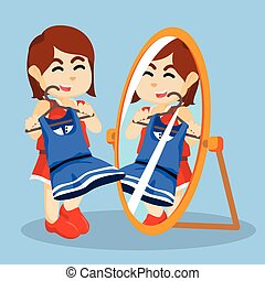 girl looking at the mirror