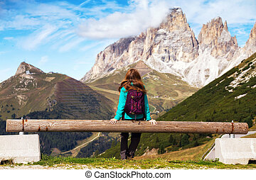 girl looking at the mountains