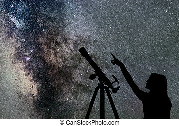 Girl looking at the stars. Telescope Milky Way