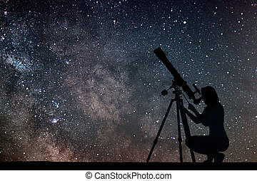 Girl looking at the stars with telescope. Milky Way galaxy.