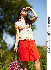 Girl looking forward outdoor