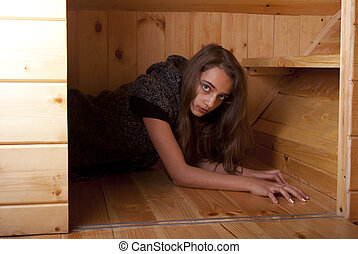 Girl looking out of pantry