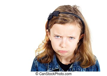 Girl looking sad against white background