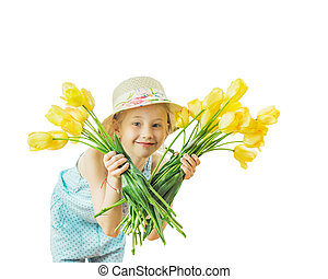 Girl looking through a bouquet of tulips isolated on white background.