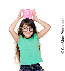 girl looking to the piggy bank on head
